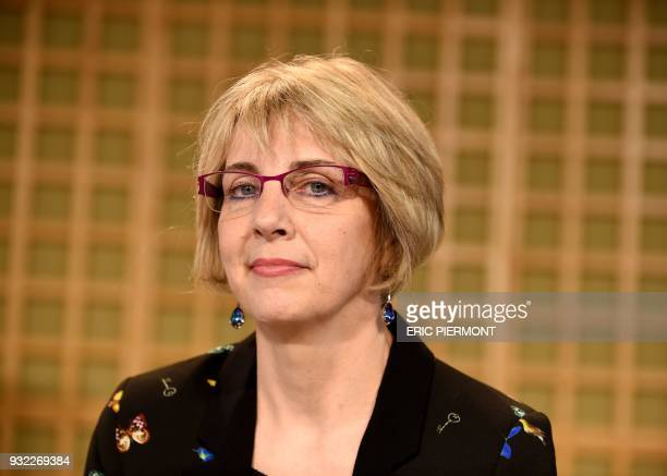 Virginie Beaumeunier head of the General Directorate for Competition Policy Consumer Affairs and Fraud Control poses prior to giving a press...