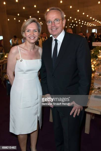 Virginie Calmels and Renaud Donnedieu de Vabres attend the Dinner of 'Grands Crus Classes en 1858' on June 18 2017 in Chateau Latour France