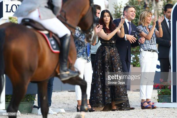 Virginie Couperie Eiffel Aishwarya Rai and Juan Carlos Capelli during the Longines Eiffel Challenge at Champ de Mars on July 6 2018 in Paris France