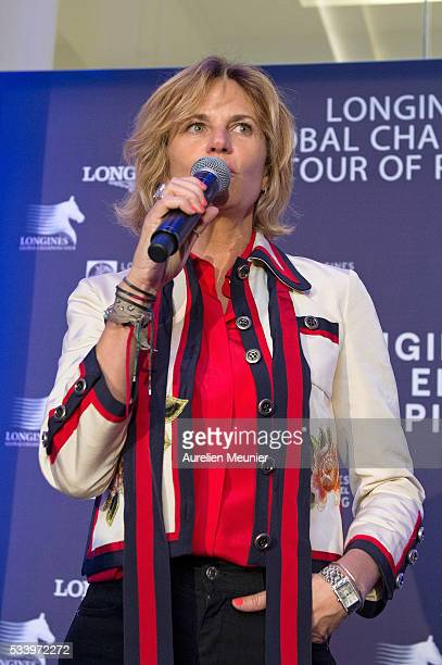 Virginie CouperieEiffel addresses the press during the 3rd Longines Paris Eiffel Jumping press conference on May 24 2016 in Paris France