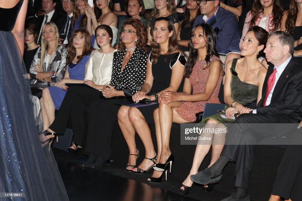 Virginie Courtin, Isabelle Huppert, Shailene Woodley, Sophia Loren, Roberta Armani, Zoe Saldana and Michele Yeoh attend the Giorgio Armani Prive Haute-Couture Show as part of Paris Fashion Week Fall / Winter 2012/13 at Palais de Chaillot on July 3, 2012 in Paris, France.
