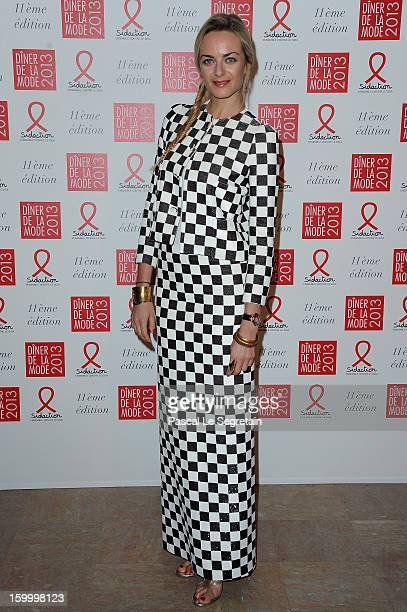 Virginie CourtinClarins poses as she arrives to attend the Sidaction Gala Dinner 2013 at Pavillon d'Armenonville on January 24 2013 in Paris France