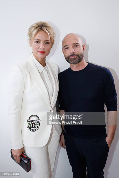 Virginie Efira and Stylist Bertrand Guyon pose backstage after the Schiaparelli Spring Summer 2017 show as part of Paris Fashion Week on January 23...