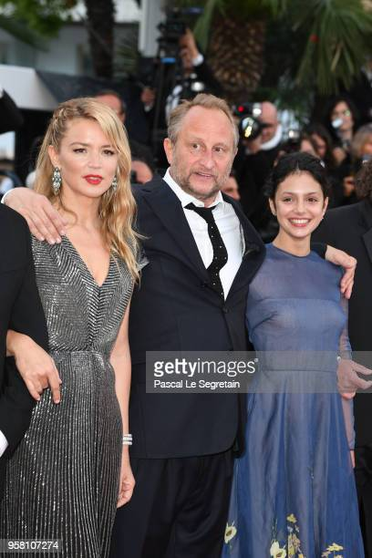 Virginie Efira Benoit Poelvoorde and Noee Abita attend the screening of Sink Or Swim during the 71st annual Cannes Film Festival at Palais des...