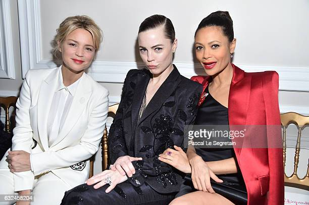 Virginie Efira Melissa George and Zoe Saldana attend the Schiaparelli Haute Couture Spring Summer 2017 show as part of Paris Fashion Week on January...