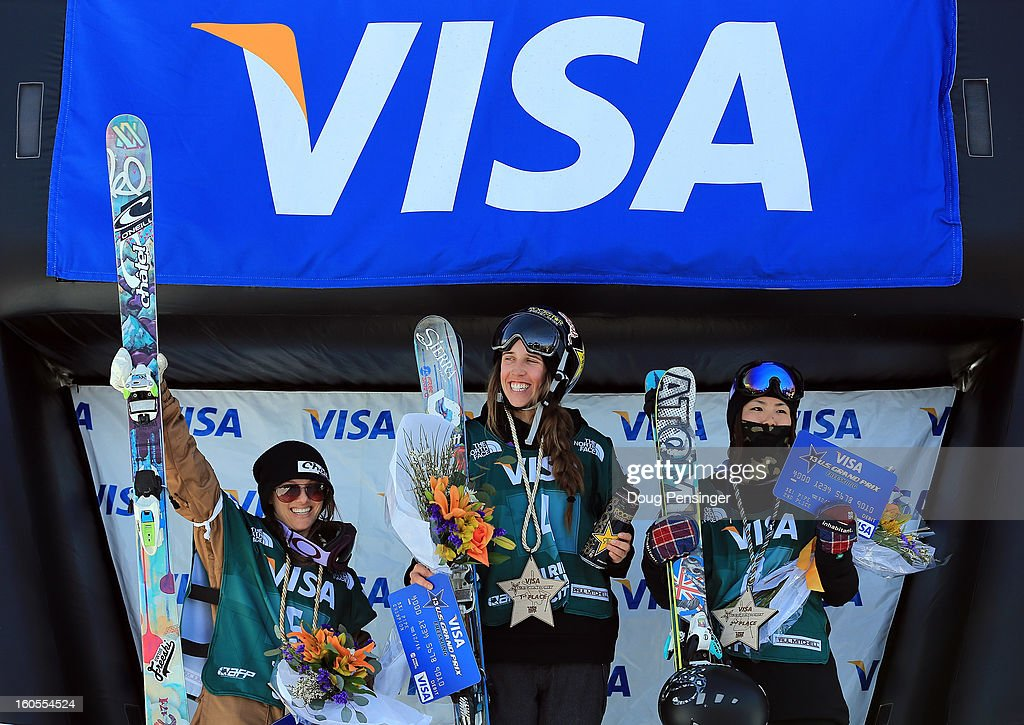 Virginie Faivre of Switerland in third place, Maddie Bowman of the USA in first place and Ayana Onozuka of Japan in second place, take the podium in the ladies FIS Freestyle Ski Halfpipe World Cup during the Sprint U.S. Grand Prix at Park City Mountain on February 2, 2013 in Park City, Utah.