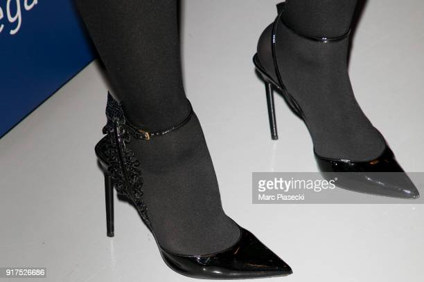 Virginie Guilhaume shoe detail attends the 'Heroes for Imagine' host by Kamel Mennour benefit auction at L'Institut Imagine on February 12 2018 in...