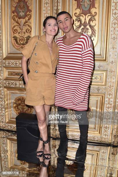 Virginie Ledoyen and Olivier Rousteing attend the Balmain Menswear Spring/Summer 2019 show as part of Paris Fashion Week on June 24 2018 in Paris...