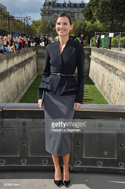 Virginie Ledoyen arrives at the Christian Dior Spring / Summer 2013 show as part of Paris Fashion Week on September 28, 2012 in Paris, France.