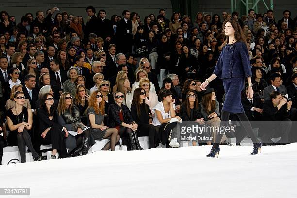 Virginie Ledoyen, Clemence Poesy, Jessica Biel sit in the front row at the Chanel fashion show F/W 2007/08 at Grand Palais on March 2, 2007 in Paris,...