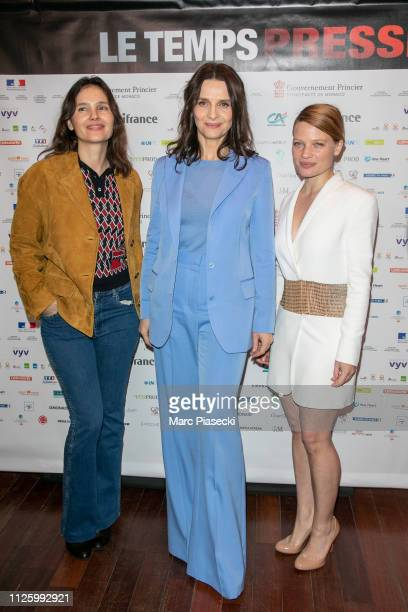 Virginie Ledoyen, Juliette Binoche and Melanie Thierry attend the 'Le Temps Presse' film festival opening ceremony at Publicis Champs Elysees on...
