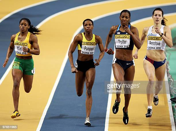 Virginie Michanol of Jamaica Aliann Pompey of Guyana Deedee Trotter of USA and Denisa Rosolova of Czech Republic compete in the womens 400m heats...