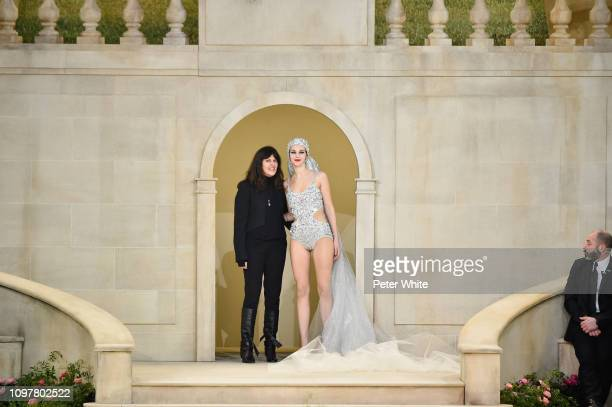 Virginie Viard and Vittoria Ceretti walk the runway during the Chanel Spring Summer 2019 show as part of Paris Fashion Week on January 22 2019 in...