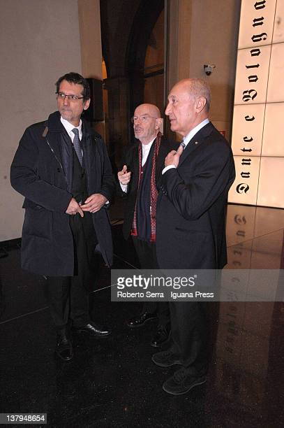 Virginio Merola mayor of Bologna and architect Mario bellini and Fabio Roversi Monaco president of CARISBO Foundation attends the opening ceremony of...