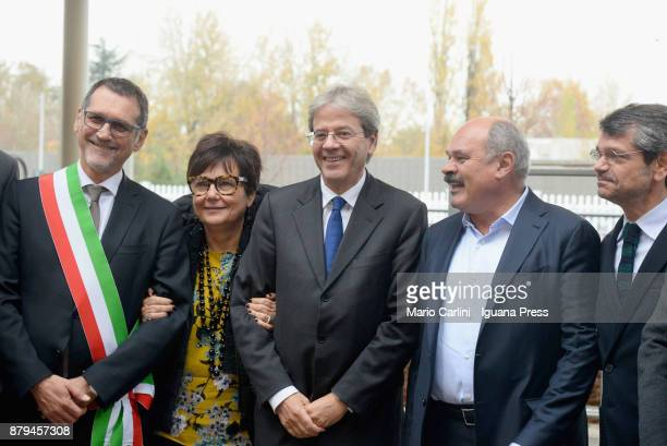 Virginio Merola Mayor of Bologna and Tiziana Primori CEO of Eataly and the italian Prime Minister Paolo Gentiloni and Oscar Farinetti President of...