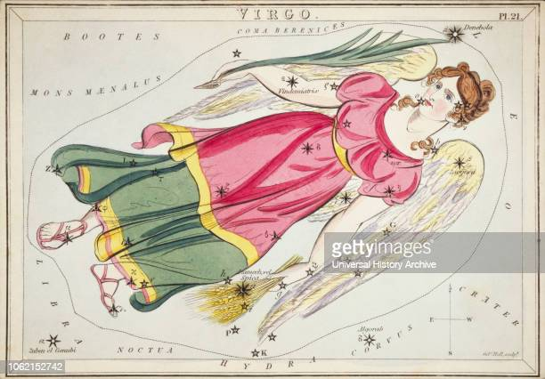 Virgo Card Number 21 from Uranias Mirror or A View of the Heavens one of a set of 32 astronomical star chart cards engraved by Sidney Hall and...