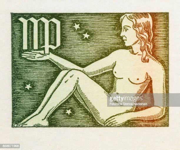 Virgo is the sixth sign of the zodiac of western astrology mobile and of earth from 23 August to 22 September Colored version of woodcut of 1942...