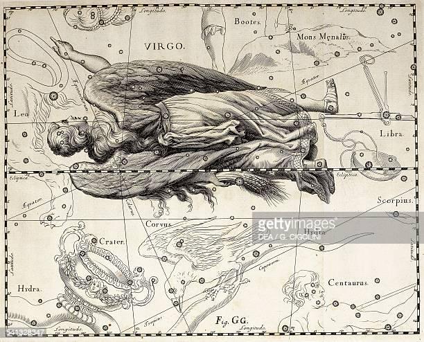 Virgo the zodiacal constellation of the Maiden illustration taken from Johann Hevelius's star atlas Firmamentum Sobiescianum sive Uranographia Gdansk...