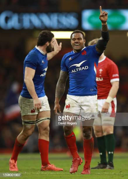 Virimi Vakatawa of France celebrates following his sides victory in the 2020 Guinness Six Nations match between Wales and France at Principality...