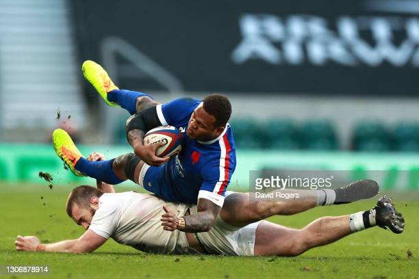 Virimi Vakatawa of France is tackled by Luke Cowan-Dickie of England during the Guinness Six Nations match between England and France at Twickenham...