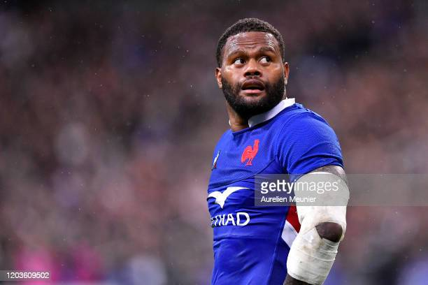 Virimi Vakatawa of France looks on during the 2020 Guinness Six Nations match between France and England at Stade de France on February 02, 2020 in...