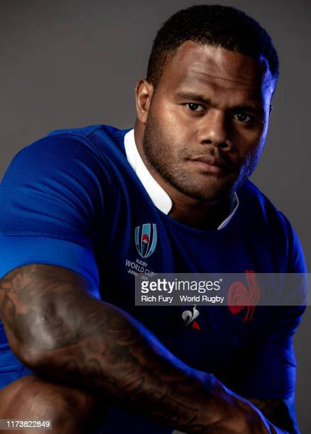 Virimi Vakatawa of France poses for a portrait during the France Rugby World Cup 2019 squad photo call on September 10, 2019 in Fujiyoshida,...