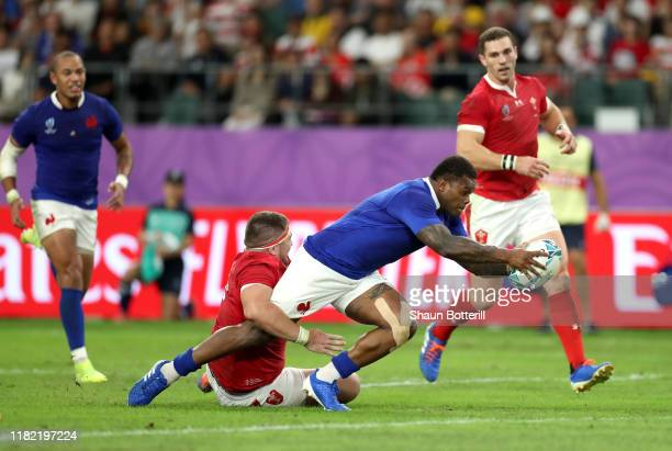 Virimi Vakatawa of France scores his sides third try during the Rugby World Cup 2019 Quarter Final match between Wales and France at Oita Stadium on...