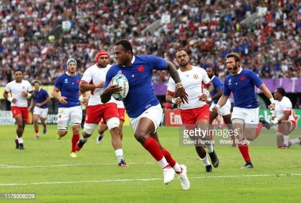 Virimi Vakatawa of France scores his team's first try during the Rugby World Cup 2019 Group C game between France and Tonga at Kumamoto Stadium on...