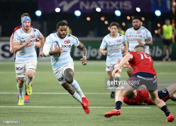 Virimi Vakatawa of Racing 92 during the Heineken Champions Cup Round 5 match between Racing 92 and Munster Rugby at Paris La Defense Arena on January...
