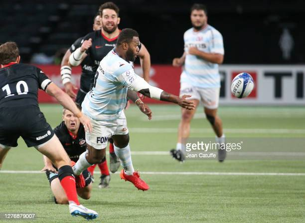 Virimi Vakatawa of Racing 92 during the Heineken Champions Cup Semi Final match between Racing 92 and Saracens at Paris La Defense Arena on September...