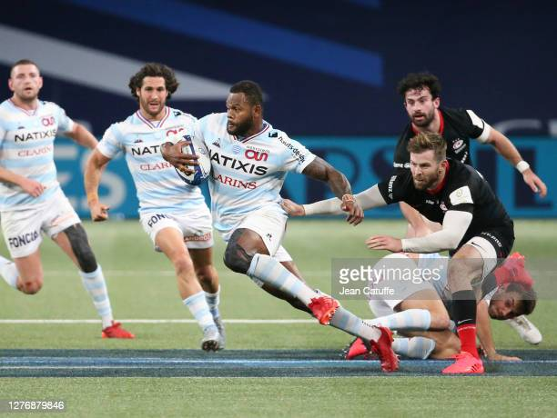 Virimi Vakatawa of Racing 92 Elliot Daly of Saracens during the Heineken Champions Cup Semi Final match between Racing 92 and Saracens at Paris La...
