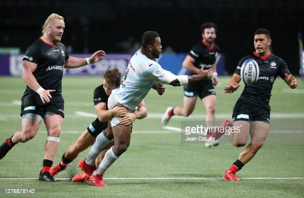 Virimi Vakatawa of Racing 92 Manu Vunipola of Saracens during the Heineken Champions Cup Semi Final match between Racing 92 and Saracens at Paris La...