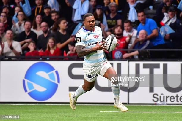 Virimi Vakatawa of Racing 92 runs in a try during the French Top 14 match between Racing 92 and Toulon at U Arena on April 8 2018 in Nanterre France