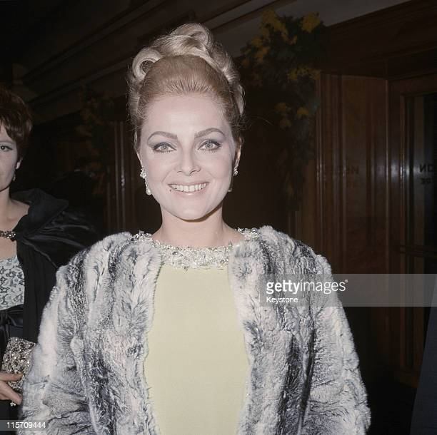 Virna Lisi, Italian actress, attending the Royal Film Performance of 'The Taming of the Shrew', at the Odeon Leicester Square, London, England, Great...