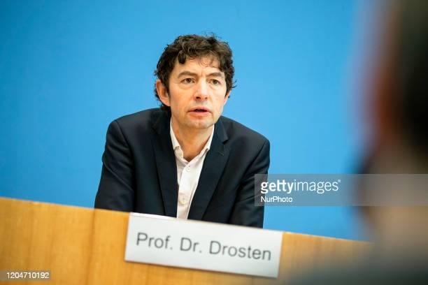 Virology Department Director of Charite Hospital Christian Drosten speaks during a press conference to inform about the spreading of Coronavirus at...