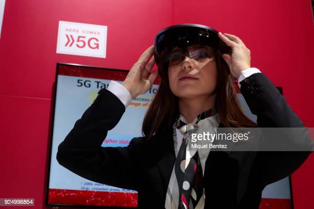 Virtual 5G technology during the Mobile World Congress the world's biggest mobile fair on February 27 2018 in Barcelona The Mobile World Congress is...