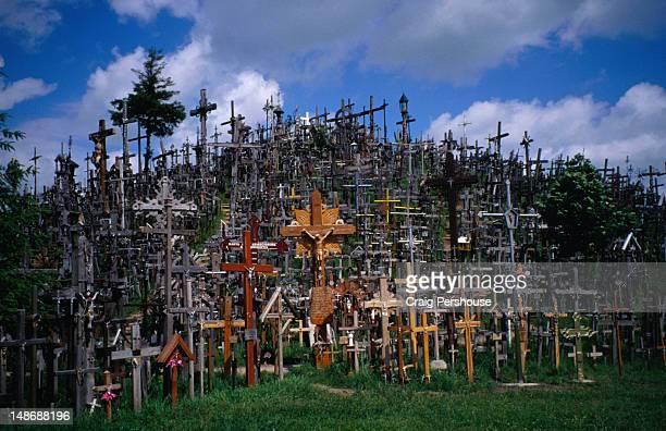 a virtual forest of crucifixes on the hill of crosses; a unique and eerie landmark - lituania fotografías e imágenes de stock