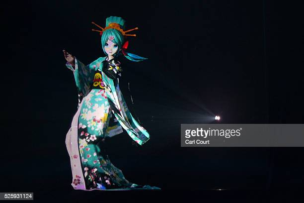 Virtual idol Hatsune Miku performs in the kabuki theatre show 'Hanakurabe Senbonzakura' on April 29 2016 in Tokyo Japan The latest digital technology...