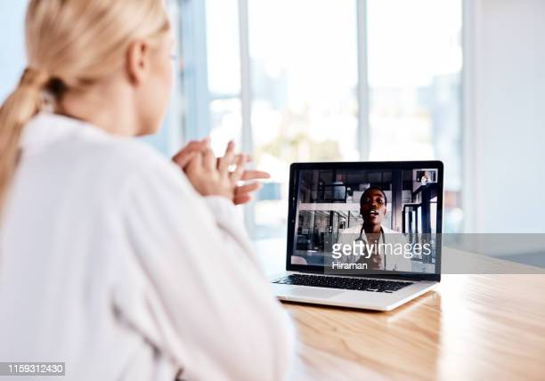 virtual meetings for those on demand discussions - webinar stock photos and pictures