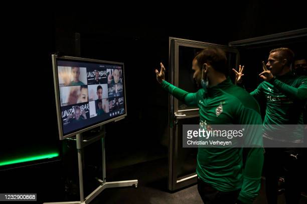 Virtual player escort children are seen in the player tunnel before the Bundesliga match between Borussia Moenchengladbach and VfB Stuttgart at...