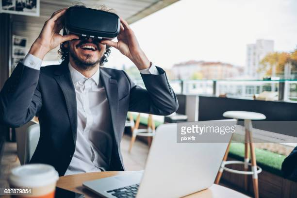 virtual reality and business - stereoscopic images stock photos and pictures