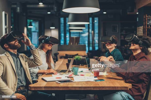 virtual reality and business - virtual reality simulator stock photos and pictures