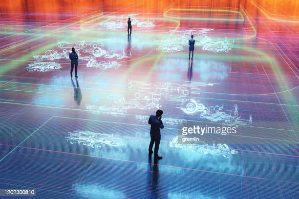 comunicazione di realtà virtuale - comunicazione globale foto e immagini stock