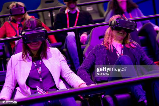 Virtual Reality demostration in the Samsung stand Thousands of people participate in the Mobile World Congress 2018 in Barcelona Spain from February...