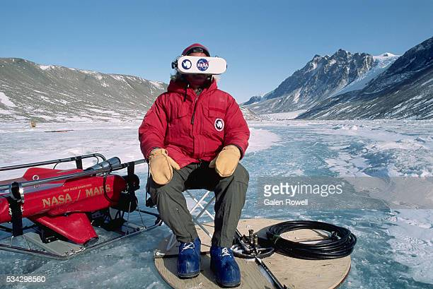 virtual reality experiment in antarctica - nasa stock pictures, royalty-free photos & images
