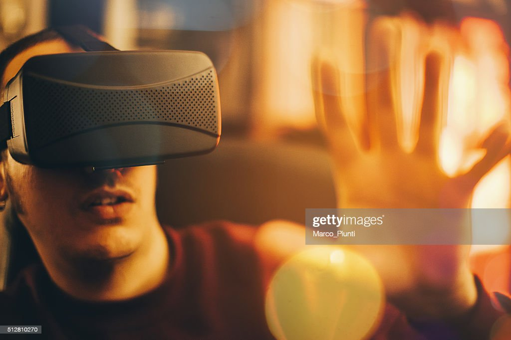 Virtual Reality Headset On Gamer : Stock Photo