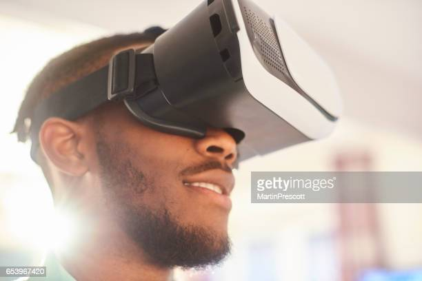 Virtual reality headset user