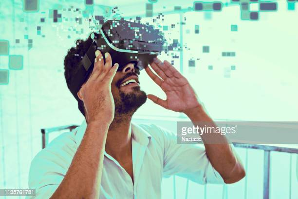 virtual reality in a office - stereoscopic image stock pictures, royalty-free photos & images