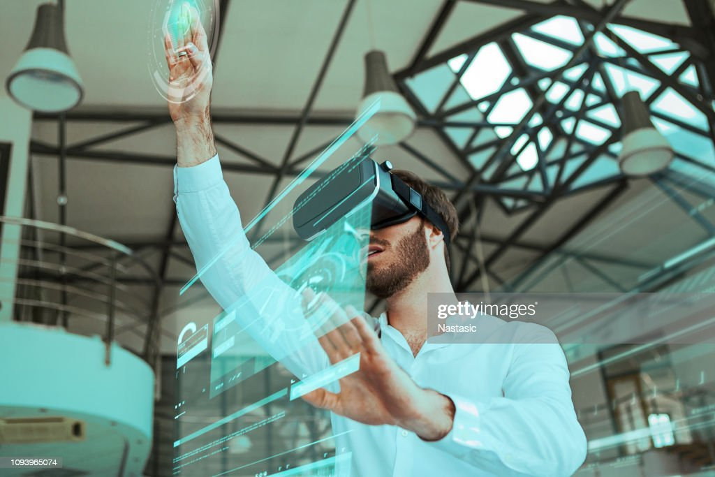 Virtual reality in a workspace : Foto stock