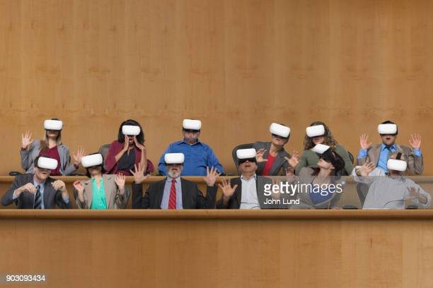 virtual reality in the court room - juror law stock pictures, royalty-free photos & images